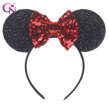 New Fashion Minnie Mouse Ears Hairband With Sequin Hair Bows For Kids Girls Cute Bling Bow Headband Hair Hoop Hair Accessories(China)