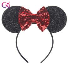 Nowa moda Minnie Mouse uszy Opaska do włosów z cekin włosy łuki dla dzieci Girls cute bling Bow HEADBAND włosy Hoop Akcesoria do włosów tanie tanio Headwear ZG17122202 Poliester Dziewczyny Hairbands Stałe sequin bow hairband Minnie Mouse Ears Hairband usually hairband