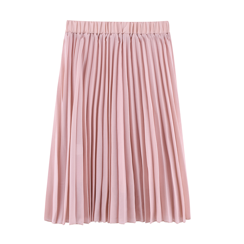 2018 Crinkle Chiffon Women Girl Skirts Spring Elastic Waist Fold Slim Skirt Pleated Department Summer Casual Skirt Jupe Femme in Skirts from Women 39 s Clothing
