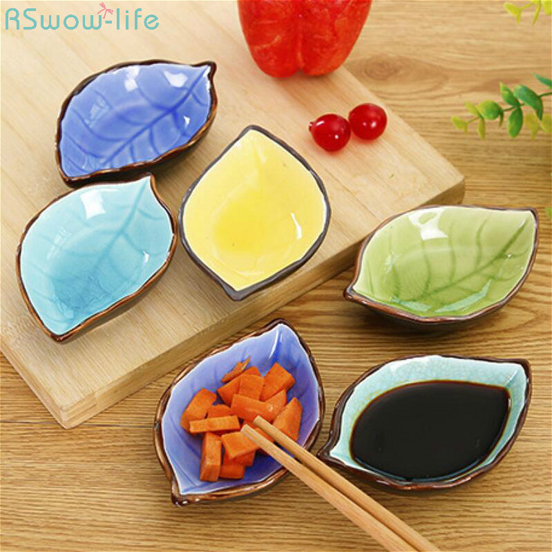 Ceramic Leaves Mini Sauce Dish Kitchen Tableware Multi-function Small Creative Snack Plate Home Supplies