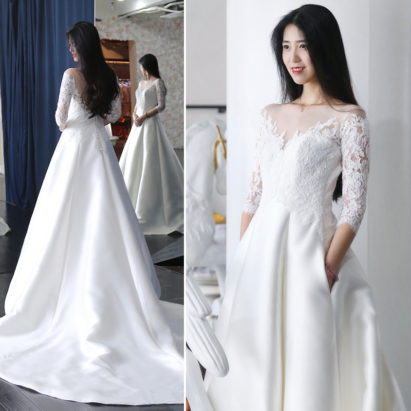 Backlackgirl Elegant Light Wedding Dress Full Dress Bride Long Tailing 2018 New Pattern  Sleeve Satin Will Code Court Customized