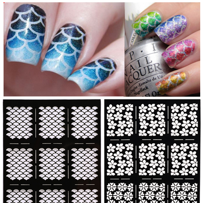 Hot 1sheet Nail Vinyls Irregular Grid Pattern Stamping Nail Art Tips Manicure Stencil Nail Hollow Stickers Guide 3 designs in 1 sheet laser vinyls nail hollow sticker gold grid irregular patterns tips tool for nail art stencil manicure sa350