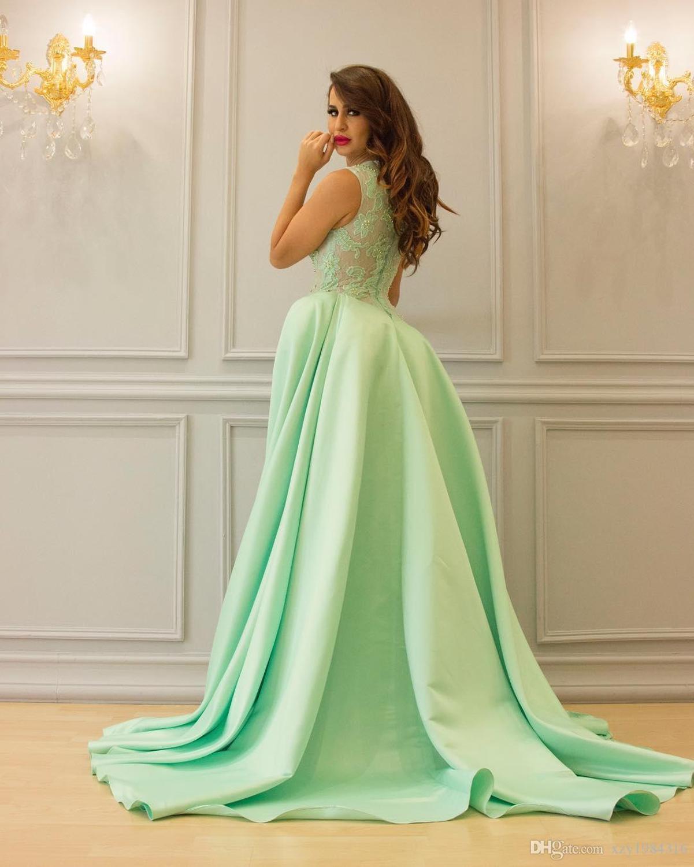 Mint Green Dubai Arabic Evening Dresses Elegant Satin Long Prom Dress Top Lace Sleeveless Formal Party Evening Gowns Turkey 2019