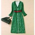 ВЫСОКОЕ КАЧЕСТВО Новые 2017 Весна и Лето Тонкий Моды Полный Рукав Элегантный Лоскутная Зеленый Кружева Dress женщины
