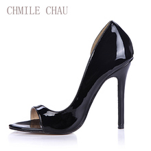 CHMILE CHAU Black Patent Sexy Party Women Shoes Peep Toe Stiletto Heels Side Open Shallow Pumps Plus Size Zapatos Mujer 0640C-Q1