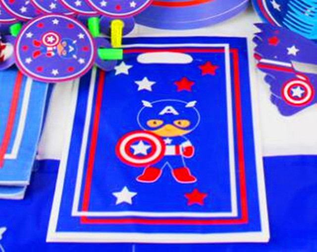 Captain America Superman Theme Party supplies 6PCS Gift bag