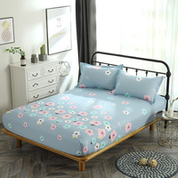 Cotton Fitted Sheet blue flowers Mattress Cover single double queen king Bedding Bed Sheets sets With Elastic Band bedclothes