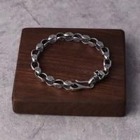 100% Real 925 Sterling Silver Gothic Skull Clasp Chain Bracelet Men Women 7mm Heavy Thai Silver Bracelet Personality Jewelry