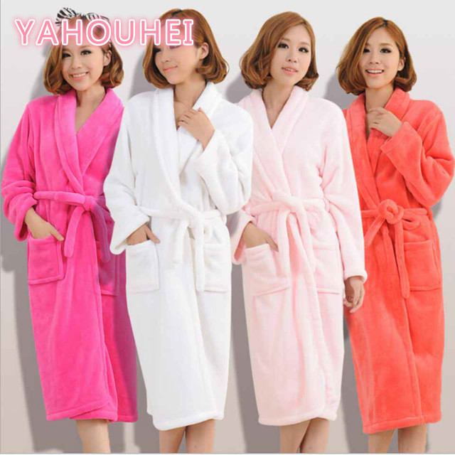 Bath Robe Winter Women\'s Plus Size Flannel Robes Bathroom Robe Men ...