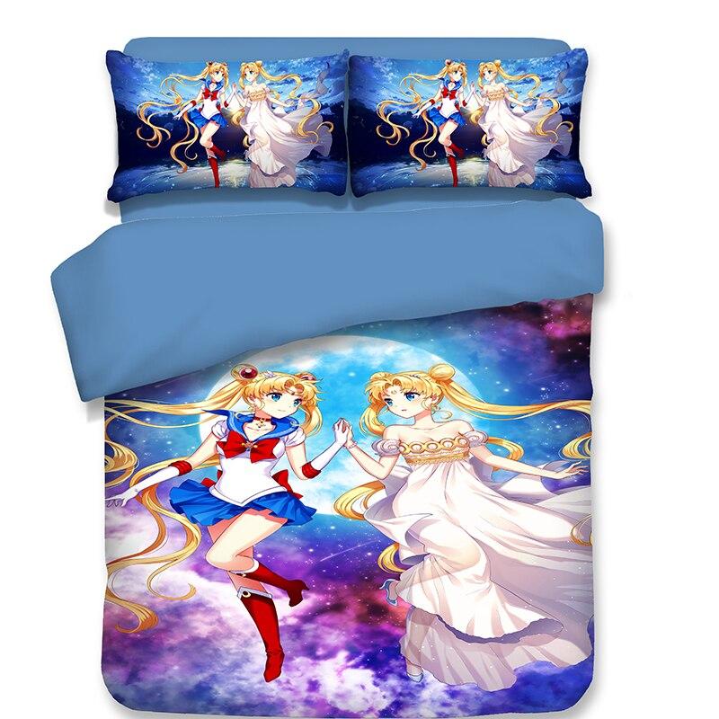 Bedding Sets 3D Japanese Anime Sailor Moon girlish Children blue colour Duvet Cover Pillow case Princess style New pattern Bedding Sets 3D Japanese Anime Sailor Moon girlish Children blue colour Duvet Cover Pillow case Princess style New pattern