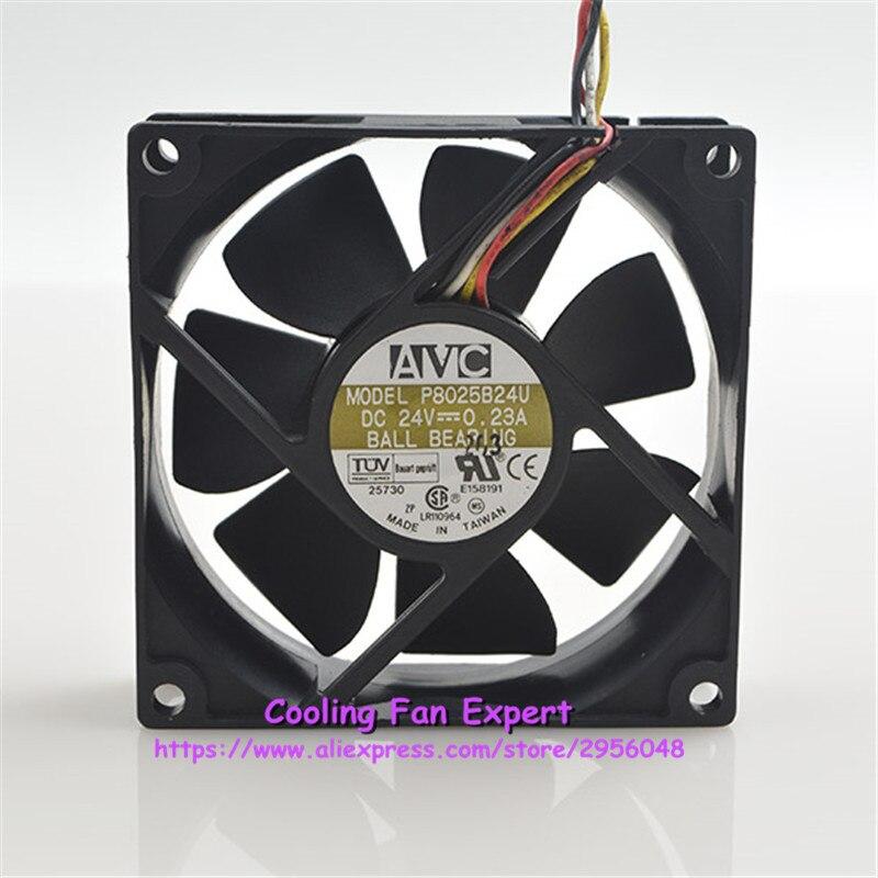 P8025B24U 4 провода преобразователь промышленный компьютер Вентилятор охлаждения dc 24 В 0.23A 4200 об./мин. 8025 80*80*25 мм 8 см
