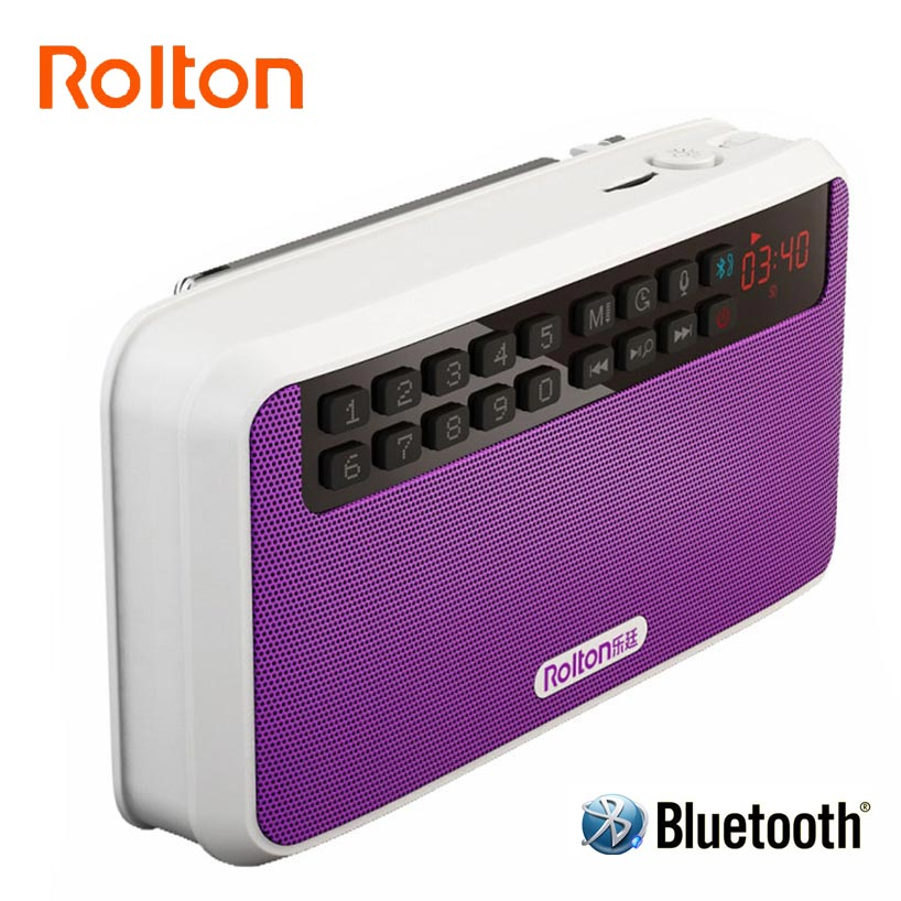 Rolton E500 Portabel Stereo Bluetooth Speaker FM Radio Clear Bass Dual Track Speaker Kartu TF USB Music Player LED Senter