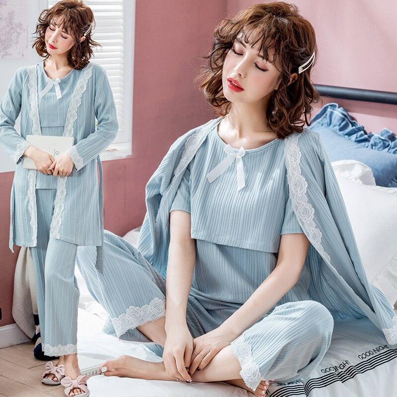 3PCS/Set Cotton Maternity Nursing Pajamas Suit Breastfeeding Clothes For Pregnant Women Sweet Lovely Pregnancy Feeding Sleepwear