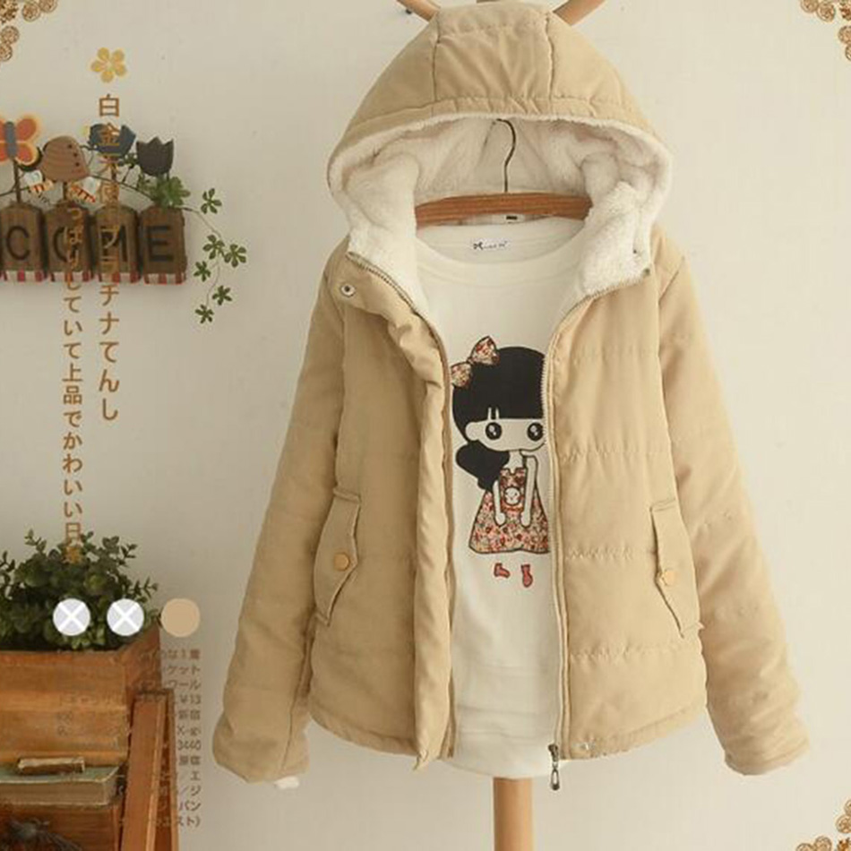 new woman coat the winter wind coat cotton dress simple school students all match solid hooded