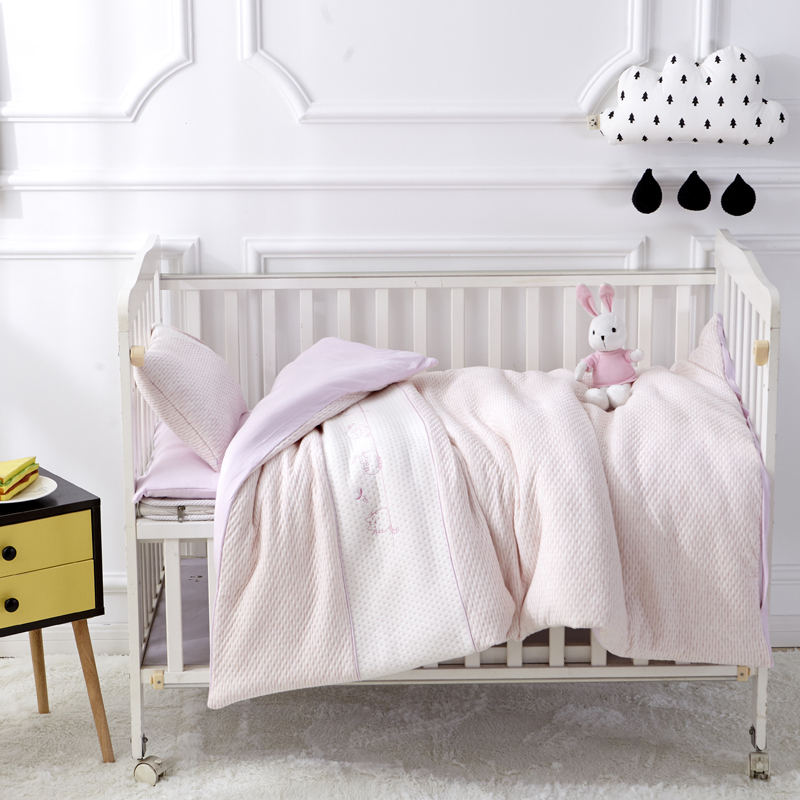 Lovely Pink Solid Color 7Pcs Cotton Baby Cot Bedding Set Newborn Bedding Detachable Quilt Pillow Sheet Cot Bed Linen 6 Size
