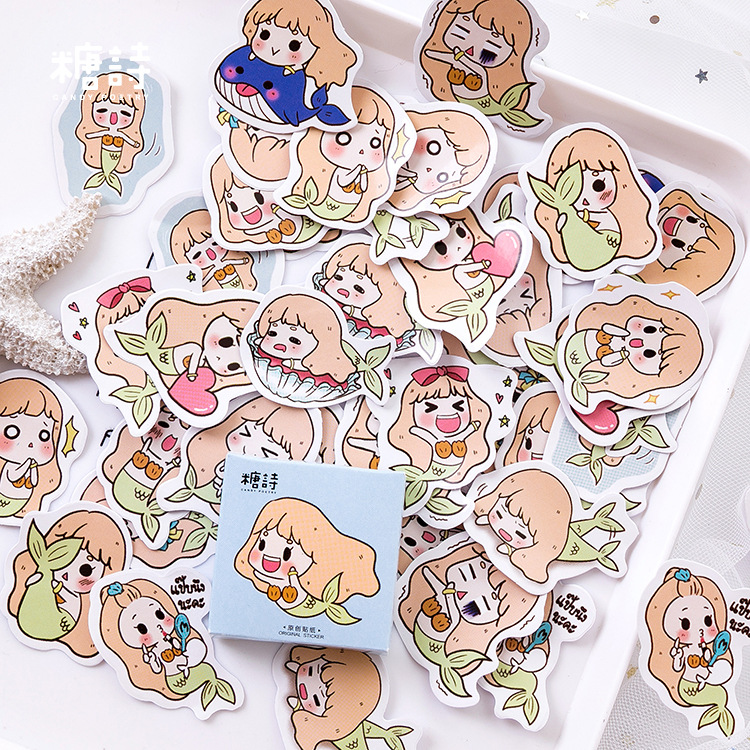 45pcs/pack The Little Mermaid Label Stickers Decorative Stationery Stickers Scrapbooking Diy Stickers