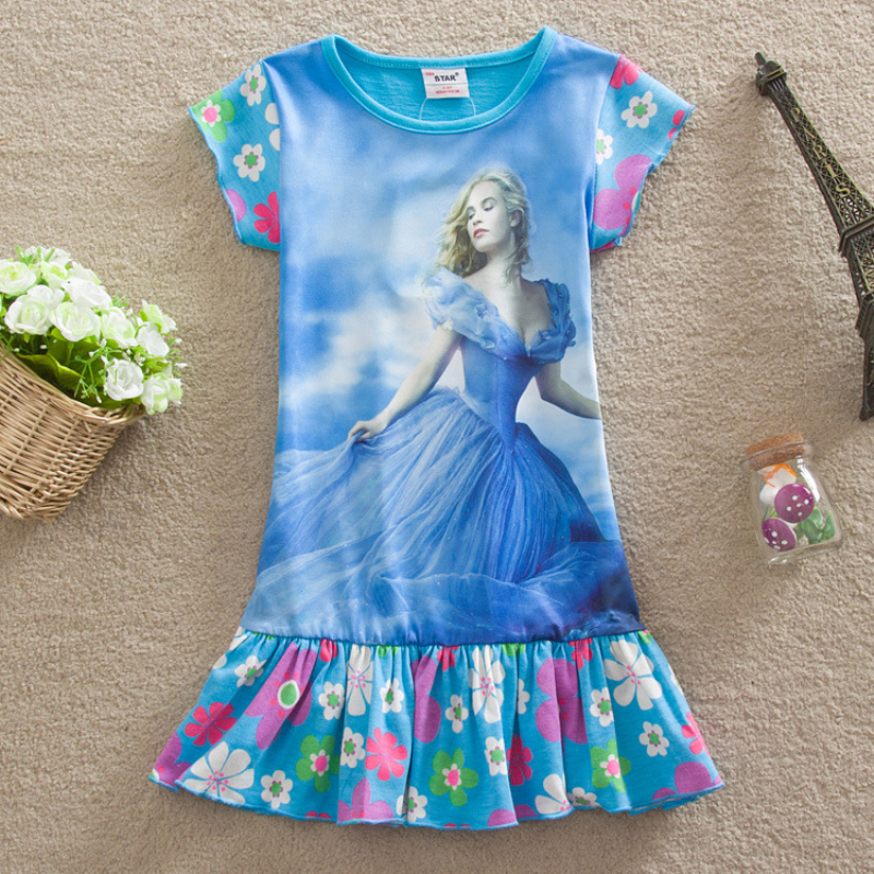 new 2017 baby girls dress 3-7Y children clothes casual summer fashion cartoon cinderella kids girls princess dress