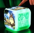 Minion Totoro Despertador Pokeball LED Colorido Dos Desenhos Animados Anime Elsa Anna luz Noturna Eletrônico Relógio Brinquedos Dragon Ball Digital # E