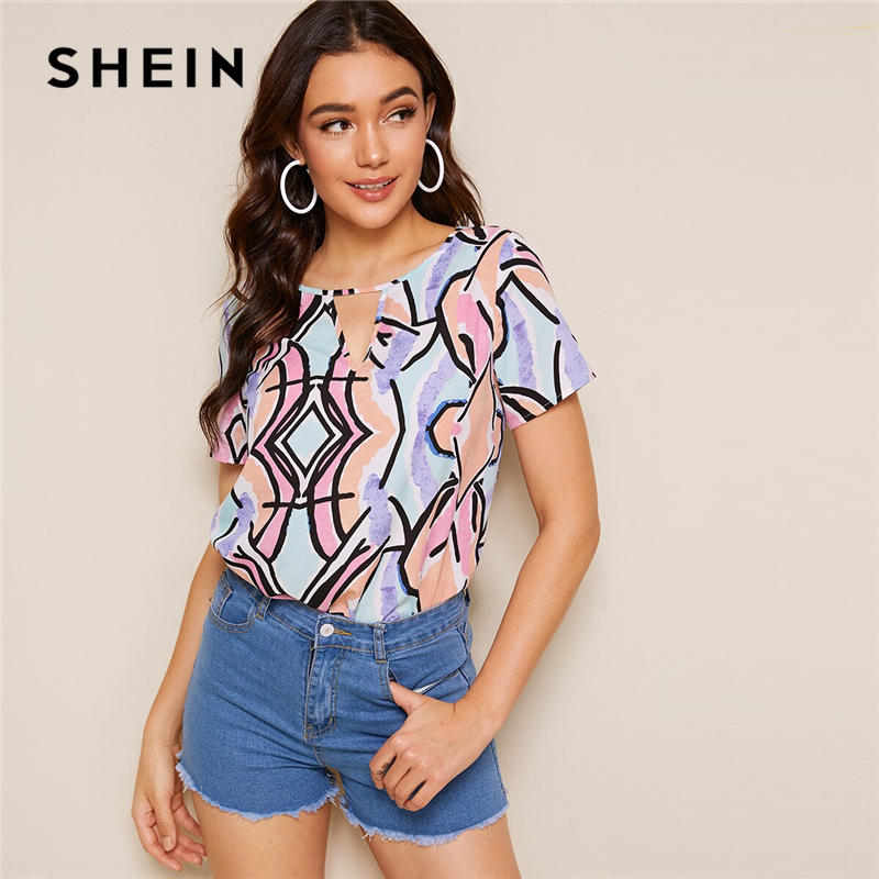 SHEIN Multicolor Keyhole Neck Allover Print Cut Out Top Women Summer Casual Blouse Short Sleeve Womens Tops And Blouses