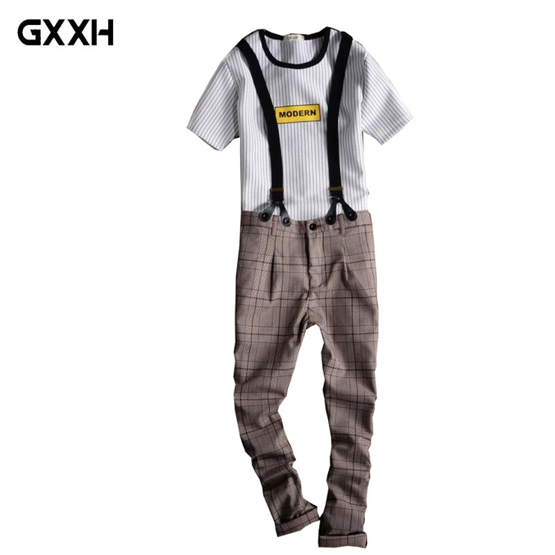 2019 New Men s Plaid Casual pants Spring and Autumn England Slim type Suspenders Detachable youth