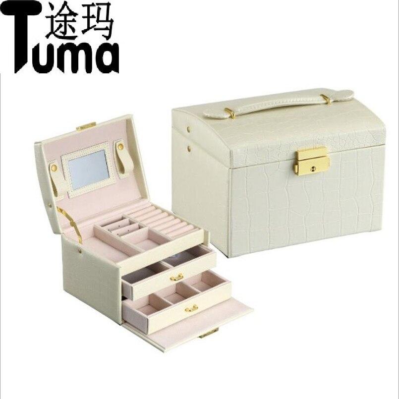 Princess-style Jewelry Box Leather Jewelry Box Cosmetic Box Jewel Case Upscale Jewelry Organizer Birthday Gift Wedding Gift jewel box