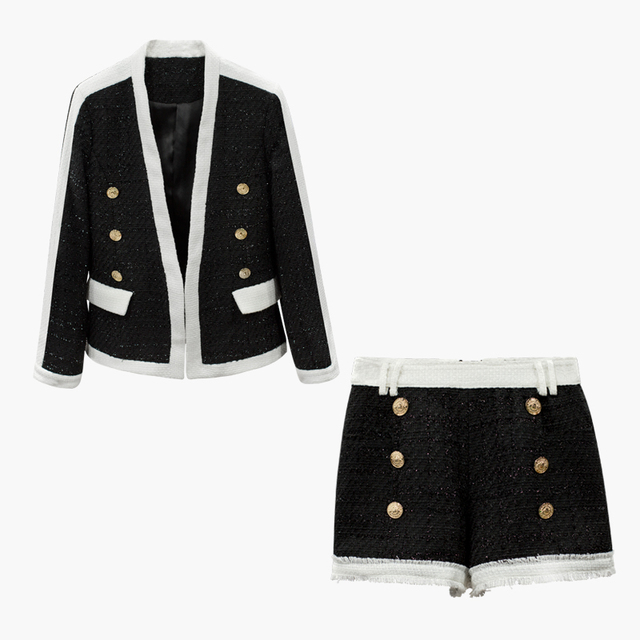 HIGH QUALITY New Stylish Fall Winter 2019 Designer Suit Set Women's Color Block Lion Buttons Tweed Blazer Jacket Shorts Set
