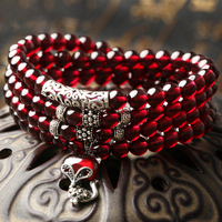 Authentic Natural 6A Wine Red Garnet Bracelet Female Multi Ring Birthday Year Of Fate Of Multi