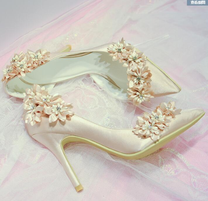 Elegant Bridal Champagne Flower High Heel Wedding Shoes Side Empty