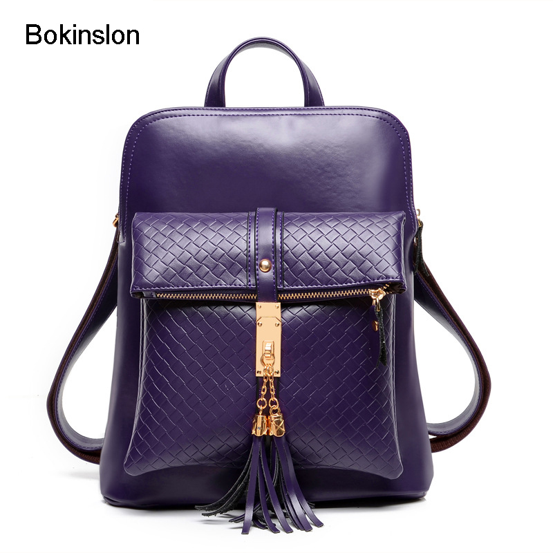 Bokinslon Fashion Womens Backpack Cow Split Leather Casual Backpack Womans Fashion Popular Designers Brand Bag Girl