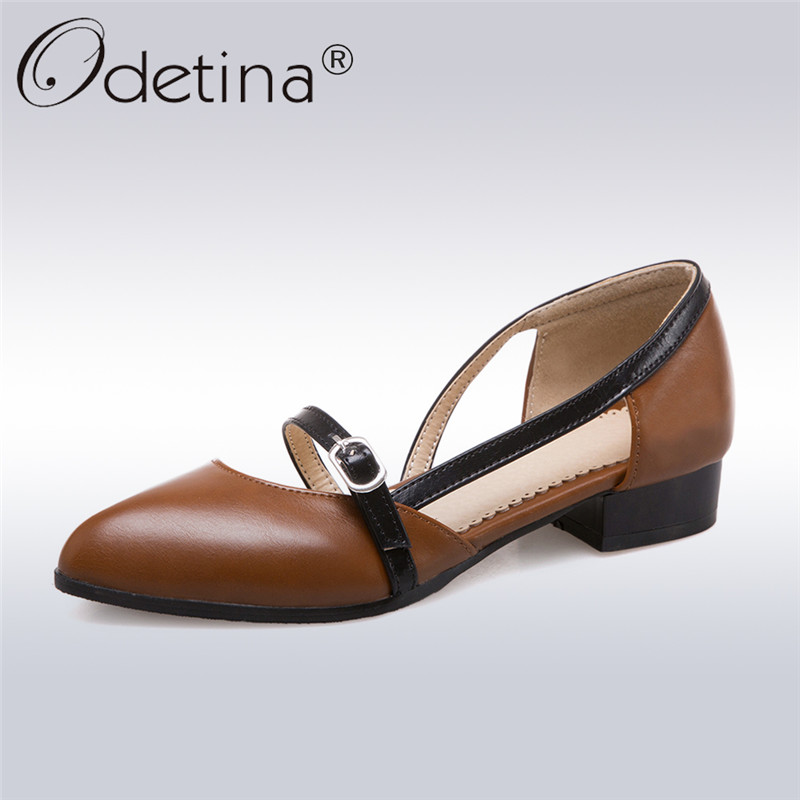 Odetina 2019 New Fashion Spring Women Pointed Toe Pumps Buckle Slip On Elegant Shoes Ladies Square Low Heels Pumps Big Size 47