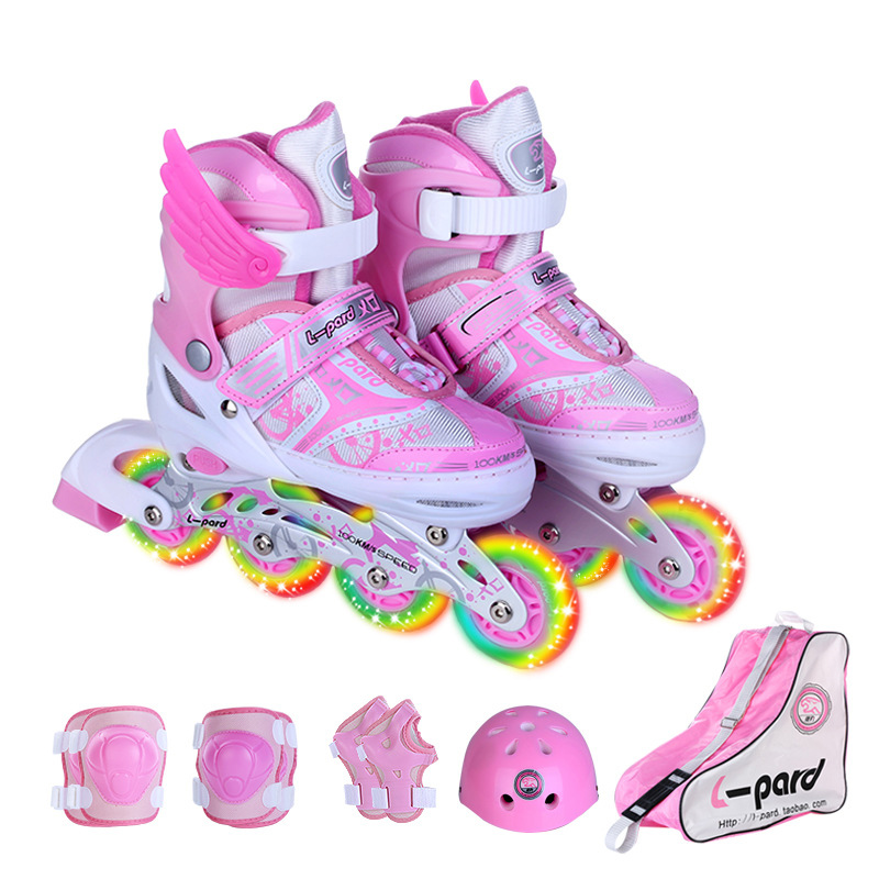 9 In 1 Children Inline Skate Roller Skating Shoes Helmet Knee Protector Gear Adjustable Washable Hard Flashing Wheels Teenagers