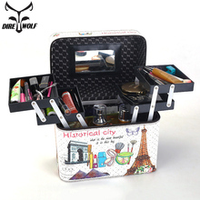 女性大容量プロのメイクアップファッション化粧品バッグ多層収納ボックスポータブル花スーツケース