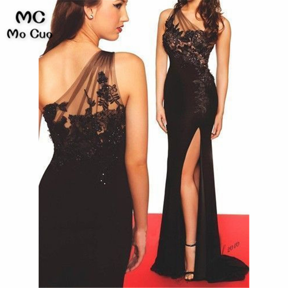 Mermaid One Shoulder   Evening     Dresses   Prom gown Long In Stock with Appliques Elastic Satin Women's Formal   Evening   Party   Dresses