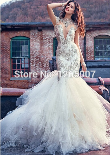 Stunning sparkly mermaid wedding dress gallery styles for Diamond mermaid wedding dresses