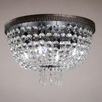 European Circular Living Room Bedroom LED Crystal Lamp Hotel Aisle Corridor Study Iron Crystal Ceiling Lights