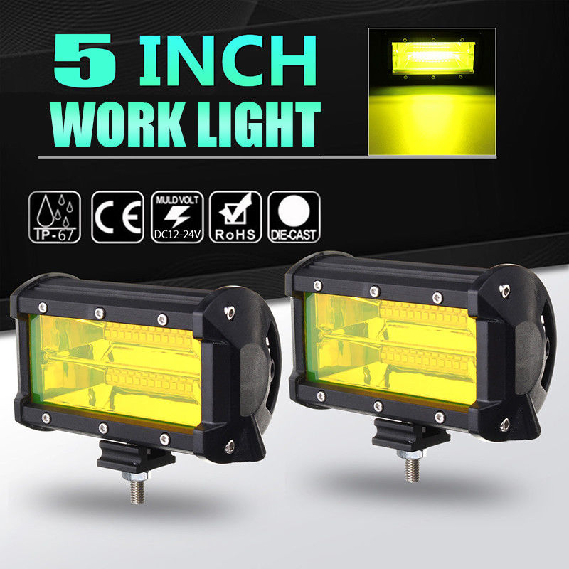 5 inch 72W 4300K Yellow Light Car LED Work Light Bar 12V Fog Light Daytime Running Lamp Day Light Bulb for Moto for Jeep SUV