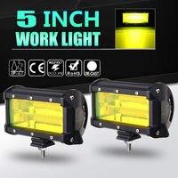 5 Inch 72W 4300K Yellow Light Car LED Work Light Bar 12V Fog Light Daytime Running