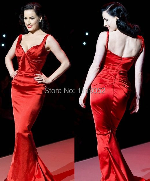 Dita Von Teese Sexy vintage Heart Truth Red Dress Collection Red Carpet  Dresses PGA018 e6200cada2d6