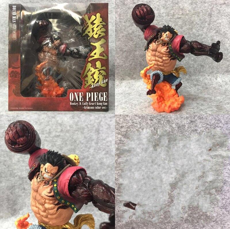 Une pièce lié homme singe D Luffy Gear 4 Kong GunCrimson couleur PVC Action Figure jouet poupée cadeau