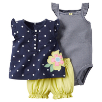 2018 Summer Baby Girls Clothing Sets Polka Dot Bebes Clothes Newborns Rompers Pants 3 Piece Toddler