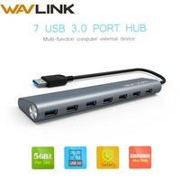 7 Port High Speed 5Gbps USB Hub 3.0 with power adapter external Aluminium Portable USB Splitter HUB for computer Tablet Wavlink