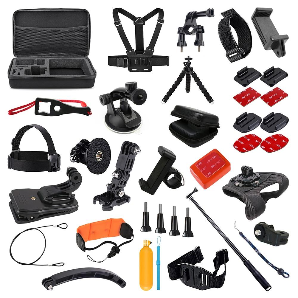 Para GoPro accesorios Set para Go Pro Hero 7 6 5 4 3 kit Selfie Stick monopié adaptador de montaje para yi 4K Sjcam Sj4000 Eken H9r