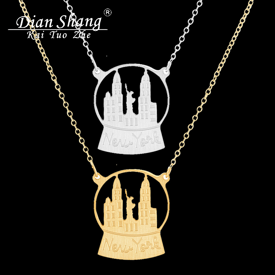 Dianshangkaituozhe Wholesale Stainless Steel Castle Choker Necklace Boho Jewelry Snow Globe New York Necklace For Women Men Bff In Pendant Necklaces From