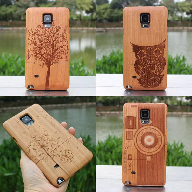 Для Samsung GALAXY примечание 4 прохладный мода из натуральной древесины бамбука ручной чехол защитить твердой оболочки из натурального дерева резьба задняя крышка