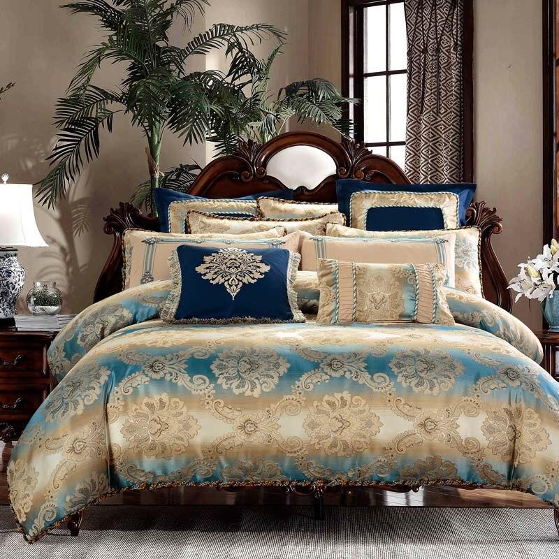 Bordar Jacquard 100% algodão Conjuntos de Cama de luxo rainha King Size Cama Set Duvet Cover Folha fronha 4/6/ 8/9 pcs bedcloth
