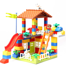 DIY Colorful City House Roof Big Particle Building Blocks Castle Educational Toy For Children Compatible LegoINGlys duplo slide