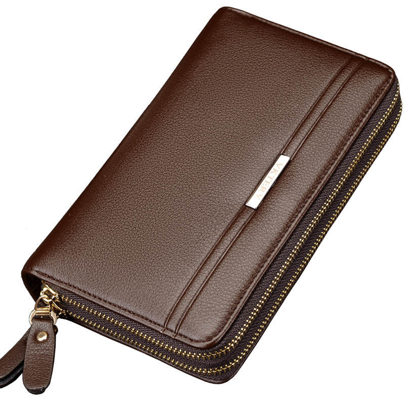 VKTERY Brand Luxury Genuine Cowhide Leather Men Clutch Bag Business Bag Wallet Big Capacity Zipper Cow Leather Purse 2018