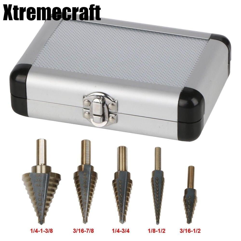 5pc Large Cobalt Step Drill Bit with Case HSS Step Titanium Core Drill Multiple Hole Cutter Drill Bit Set Tool