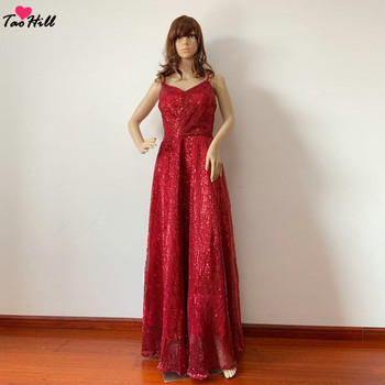 TaoHill Real Made Dress for Wedding Party Robe De Soiree Longue 2018 Spaghetti V-neck Sequins Burgundy Evening Prom Dresses