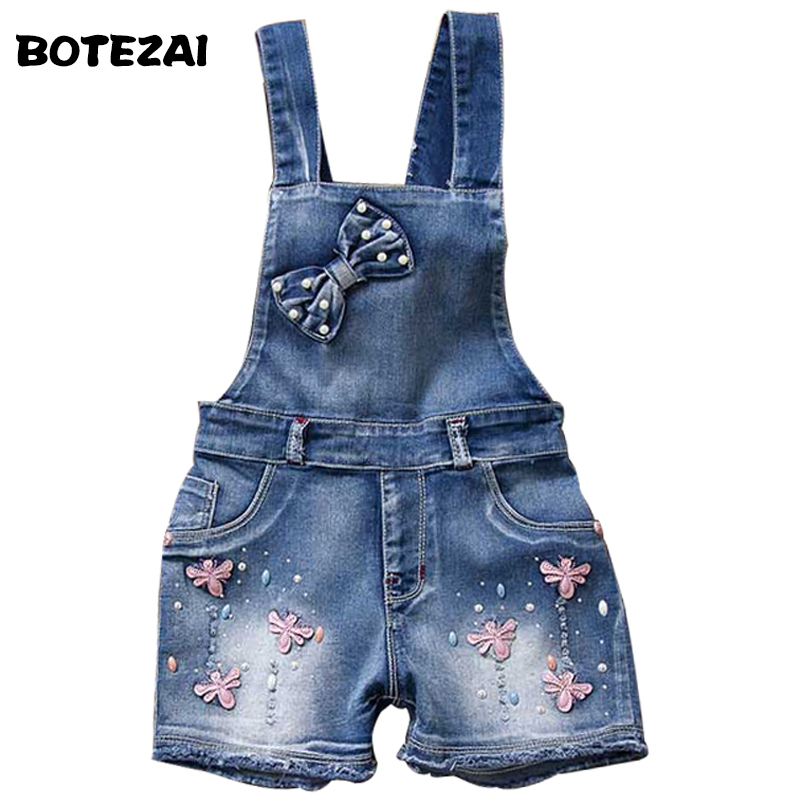 2017 SPRING Summer US Style Girl Jumpsuit Cute Sweet Fashion Washed Jeans Denim Romper Jumpsuits Straps Short Pants Cowboy Blue